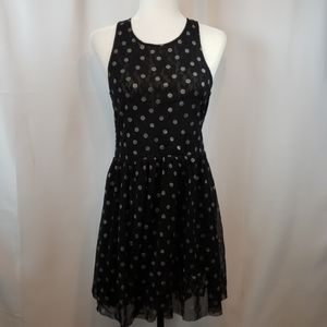 Free People Navy with silver polka dots dress S